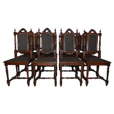 Nice Clean Set of 12 French Renaissance Dining Chairs, Late 19th Century, Oak