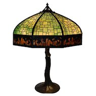 Handel Sunset Palm Border Overlay Lamp with Crooked Tree Base