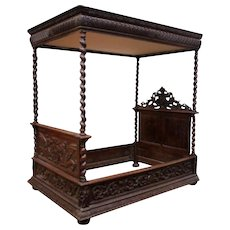 Fantastic Antique French Hunt Canopy Bed, Barley Twist, Oak, 19th Century
