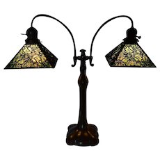Handel Student Lamp with Pine Needle Overlay Shades