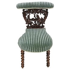 Stunning Antique Smokers Chair, Barley Twist Carvings, Turn of Century