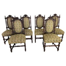 Superb Antique Set of Six Black Forest Dining Chairs, Barley Twist, Oak