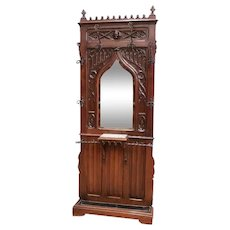 Antique French Gothic Hall Rack, Walnut, Narrow Model, 19th Century