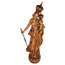 """Our Lady Mediatrix of All Graces, Religious Statue, 57"""" Tall, 1920's"""