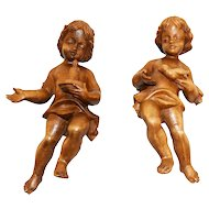 Lovely & Petite Pair of Hand Carved Wooden Angels, 1920's