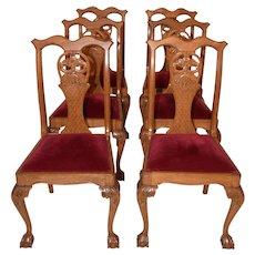 Elegant Set 6 Vintage Chippendale Dining Chairs, Oak, 1940-50's