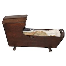 Primitive Antique Baby Cradle with Doll, Mahogany, 19th Century