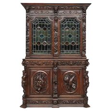 Extraordinary Antique French Hunt Cabinet with Leaded Glass, 19th Century