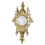 19th Century French Gothic Cartel Cathedral Wall Clock, Bronze