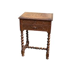 Nicely Carved French Hunt Dressing Table, Oak, 19th Century