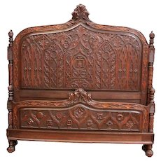 Regal Antique French Gothic Medieval Bed, Walnut, 1920's