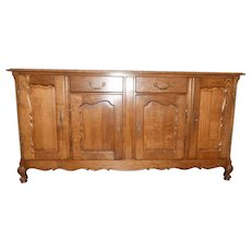 Solid Oak Vintage French Country Server, Sideboard or Buffet, Oak 1920-40's