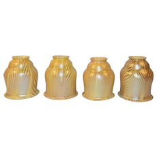Art Glass Shades Set of Four Iridescent Glow Arts & Crafts