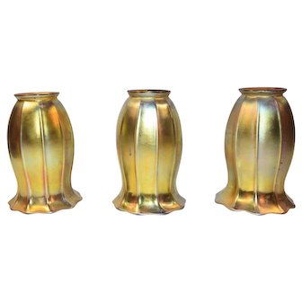 Steuben Art Glass Shades Set of Three Tall 6 Inches High