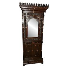Striking Antique Syrian Hall Rack with Mirror, 19th Century, Walnut