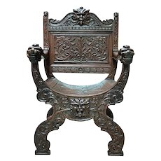 Heavily Carved French Renaissance Arm Chair, Oak, Turn of Century, Good Value