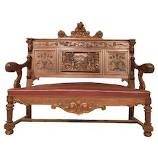 Nicely Carved Antique French Renaissance Jester Bench, 19th Century, Walnut