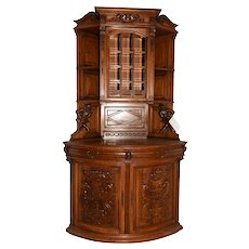 Fantastic French Jester Corner Cabinet, Great Carved Detail, Walnut, 19th Century