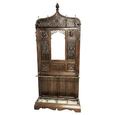 Striking French Gothic Hall / Coat Rack, 19th Century, Oak