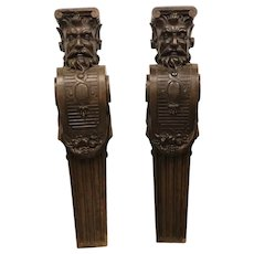 Impressive Matching Pair of French Renaissance Columns, Walnut, 19th Century