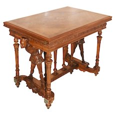 One of a Kind Antique French Renaissance Jester Game Table, Walnut
