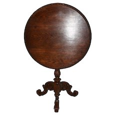 Antique French Oak Table, Small Occasional Size, Tilt Top, c 1900's