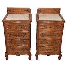 Vintage Pair of French Renaissance Nightstands, Marble Top, Oak, 1920's