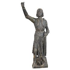 Cast Iron Joan of Arc Statue, Garden Statue from France, 19th Century