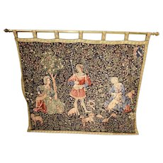 Nice Vintage Tapestry featuring Noble's in the Countryside, 1940-50's