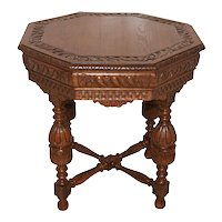 Nicely Carved French Tudor Occasional Table, 1920's, Oak