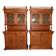 Nicely Preserved Pair of French Leaded Glass Cabinets, Oak, 1920's