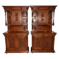 Value Priced Pair of French Renaissance Cabinets, Nice Carvings, Oak, 1920's