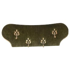 Simple Decorative Coat Rack on Green Velvet, 1950-60's