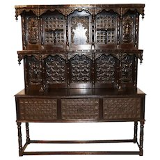 Unique English Display Cabinet, Sideboard, Gothic Influence, 19th Century