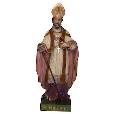 "Tall 55"" Antique Plaster Statue of Saint Augustine of Hippo"