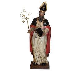 Vibrant Antique Wooden Religious Statue of St. Augustine, 18th Century