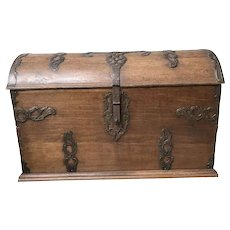 Large Primitive French Oak Trunk, Iron Accents, Very Heavy, 1890-1910