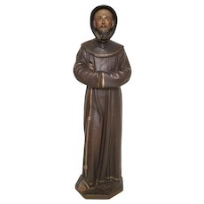 Striking and Expressive Statue of Saint Francis in Plaster, 1900-1920's, Religious