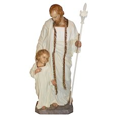 "Exceptional Plaster Religious Statue of Joseph & Christ, 40"" Tall"