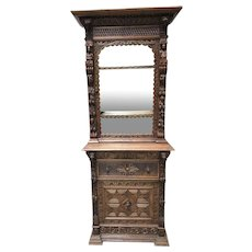 Antique French Display Cabinet with Secretary, Oak, 1900-1920's