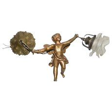 Elegant Metal Cherub Chandelier with Single Light, 1920's