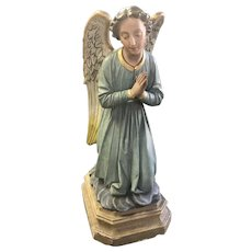 Beautiful & Serene Statue of Kneeling Angel, Plaster, 1920's