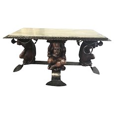 Vintage French Gothic Jester Coffee Table, Marble Top, Whimsical