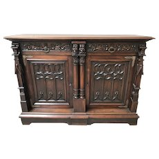 Whimsical Antique French Gothic Server, Sideboard or Buffet, Walnut, 19th Century