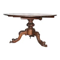 Antique Walnut Drop Leaf Table, Carved Dolphin Faces, 1920's, Walnut