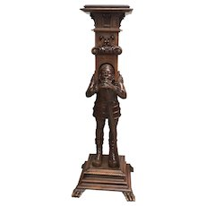 """Amazing Antique French Jester Pedestal or Stand, Walnut, 19th Century, Tall at 47"""""""