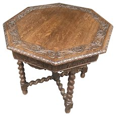 French Tudor End Table or Occasional, Barley Twist, 1920's, Oak