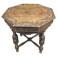 French Tudor Nicely Carved Octagon Occasional Table, 1920's, Oak