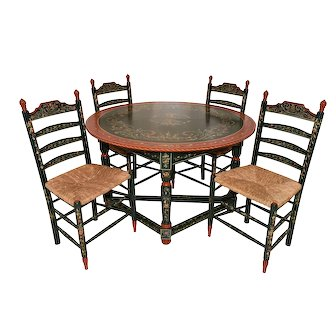 Attractive & Vibrant Vintage Dutch Dining Table & Chairs