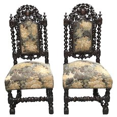 Appealing Pair of Antique French Hunt Chairs, Barley Twist, Oak, 19th Century